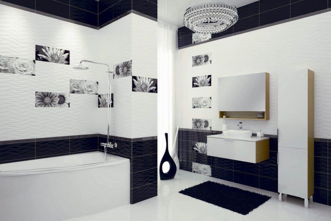 черно белая ванная комната дизайн фото