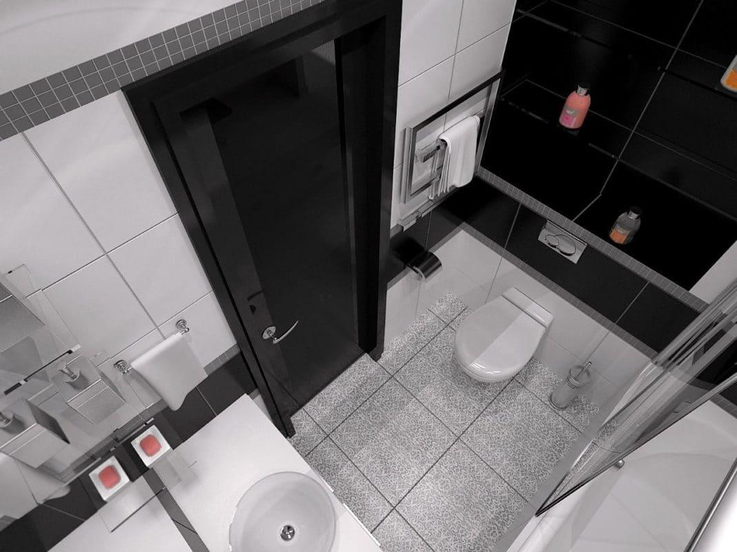 Дизайн маленькой ванной комнаты черно-белый цвет