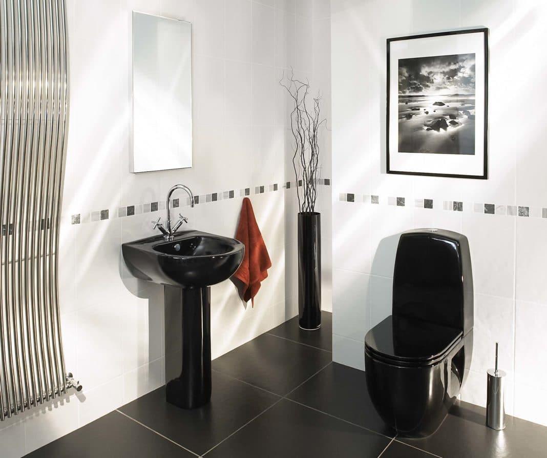 дизайн ванной в черно белом цвете фото