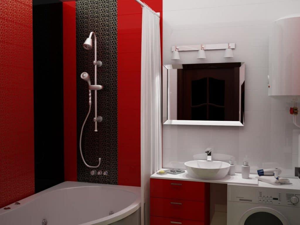 Дизайн ванной в черно белом красном цвете