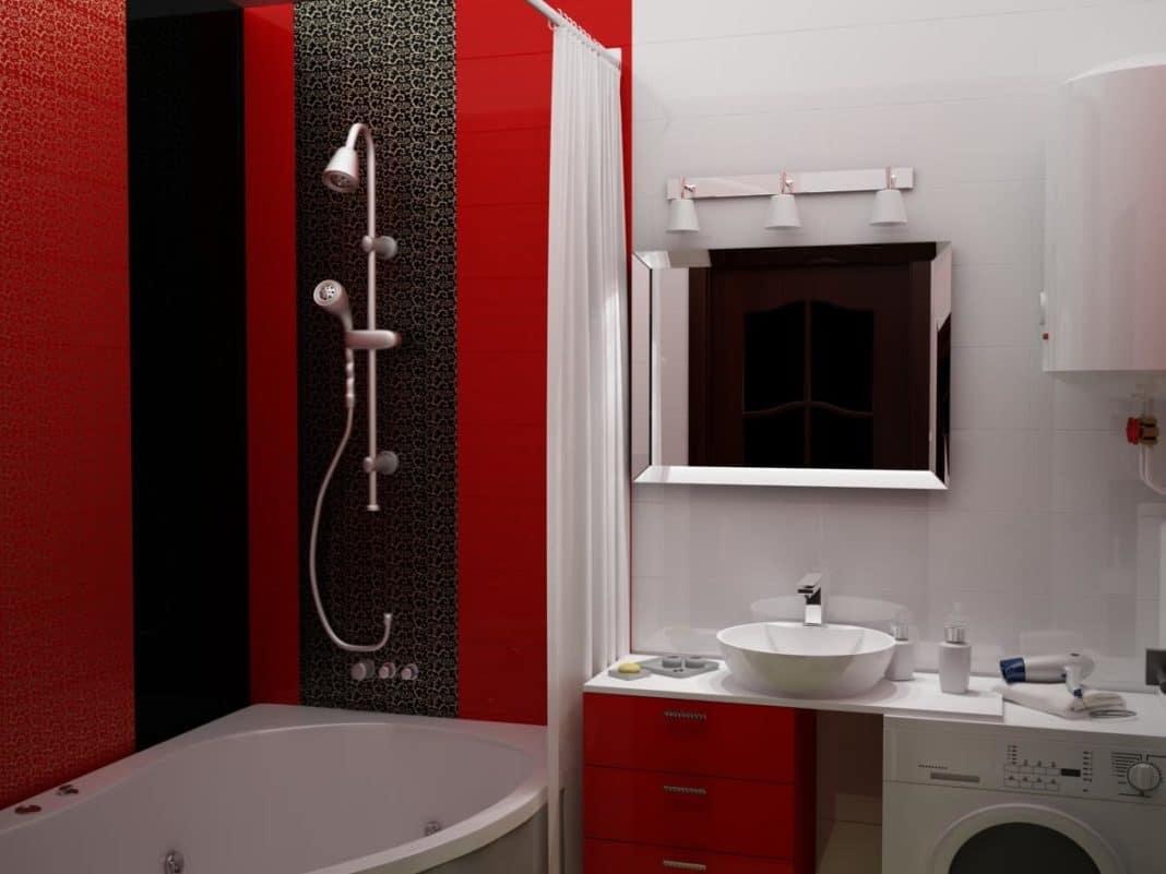дизайн ванны черно белых тонах