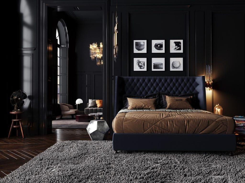 Дизайн-проект черной спальни