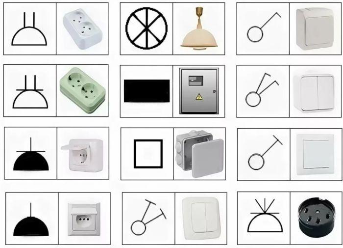 обозначение выключателей и розеток на электрических схемах