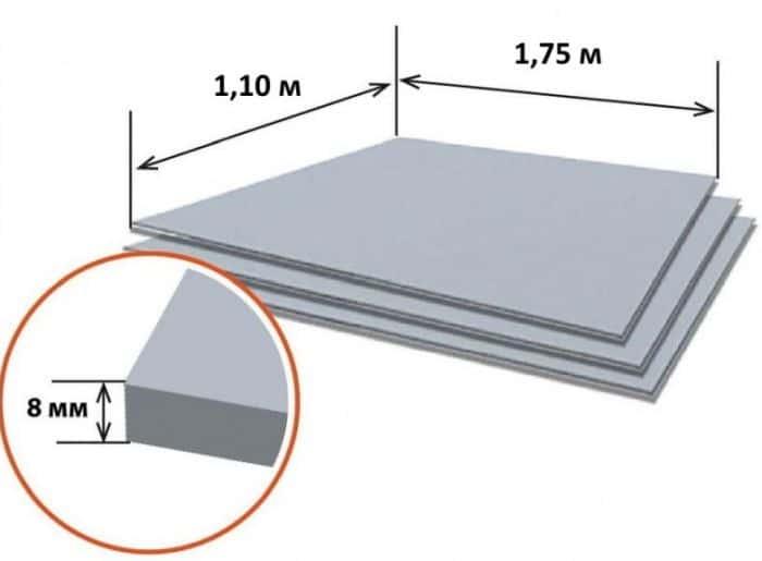 размеры листа плоского шифера