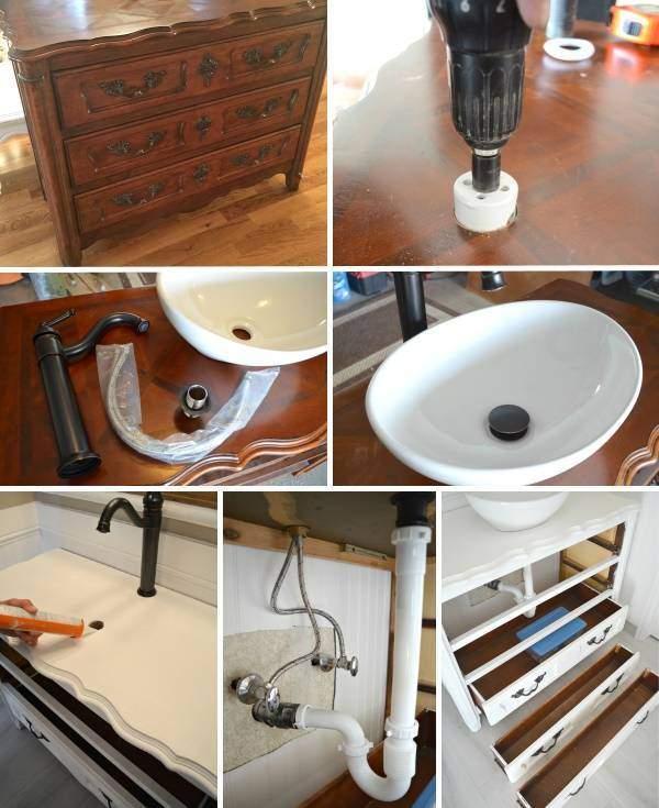 Тумба под раковину в ванную напольная из старого комода