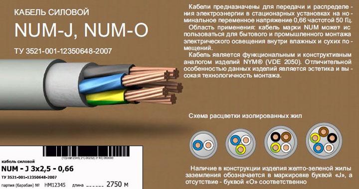 в чем отличие кабеля NYM от NUM и НУМ