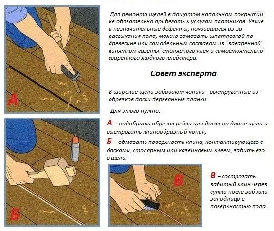 чем заполнить щели в деревянном полу