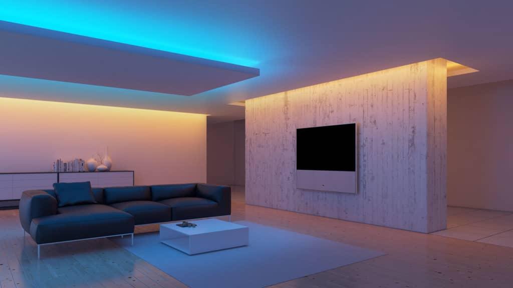варианты светодиодной ленты на потолке