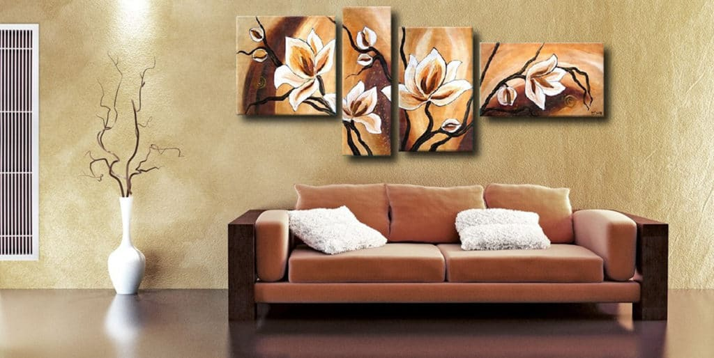 Модульные картины в гостиной