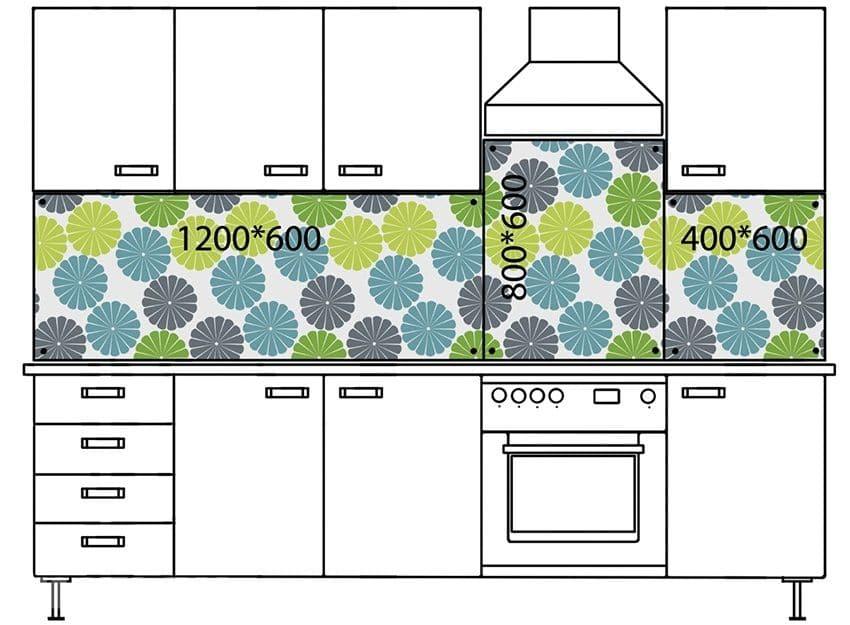 Пример размеров кухонного фартука