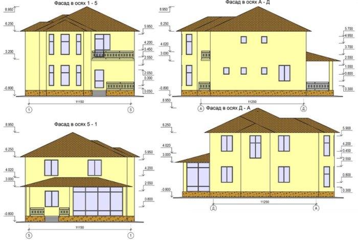 фасад дома чертеж