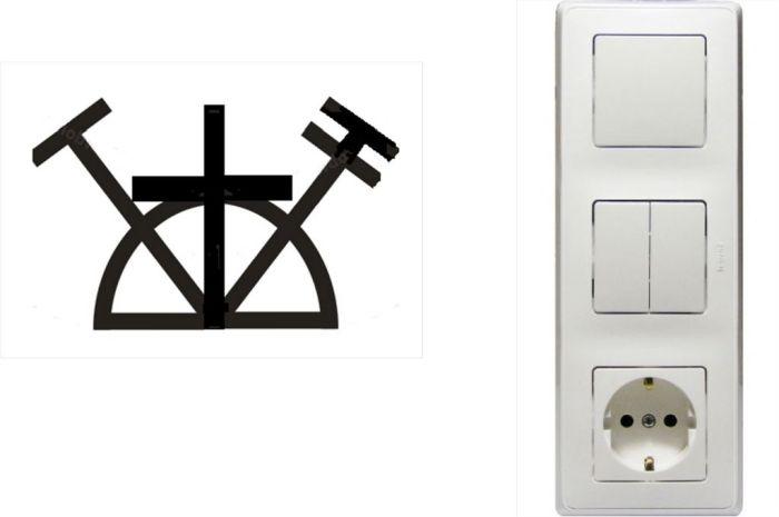 выключатель с розеткой значок обозначения
